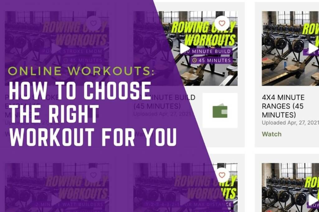 """Image of free online workouts with the text """"Online workouts: how to choose the right workout for you"""""""